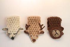 three woodland fox deer bear crochet scarf christmas gift