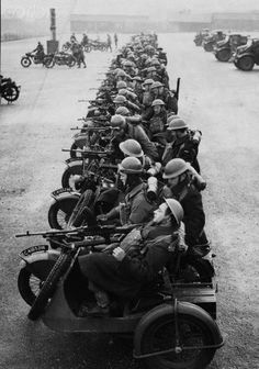 Canadian troops on Bren gun motor cycle combinations prepare to attack, ca. 1943.