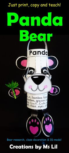 3D Panda Bear Research Model A creative, integrated research project, classroom decoration and 3D model all rolled into one Cute Panda Bear Activity. Your kiddos will be delighted on work on this creative research and 3D Bear Model. This is not your average research project!