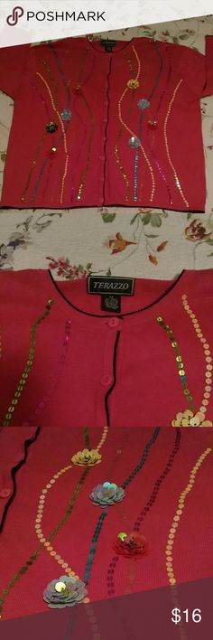 """Orchid Sequin Sweater Top 2X button down pink blue Beautiful sequin flower sweater top, 2X. Quarter sleeves. By Terazzo... 26"""" across underarms x 27.5"""" shoulder to hem.......55Fannie/45 cotton.....very good condition....compliments guaranteed! terazzo Tops Button Down Shirts"""