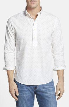 Men's New England Shirt Company Slim Fit Dot Chambray Shirt
