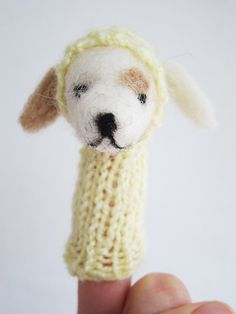 Puppy Finger Puppet Soft Toy needlefelted from wool by LazyAnimals