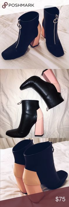 ZARA contrast heel zip-up ankle boots LIKE NEW. Worn only once. Super cute zip up black booties with pastel pink contrast heel. Heel height: 3 inches. Size 7.5/38 EU Zara Shoes Ankle Boots & Booties