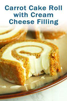 Carrot Cake Roll with Cream Cheese Filling - Desserts Köstliche Desserts, Best Dessert Recipes, Delicious Desserts, Cake Recipes, Summer Desserts, Recipes Dinner, Food Cakes, Cupcake Cakes, Cupcakes