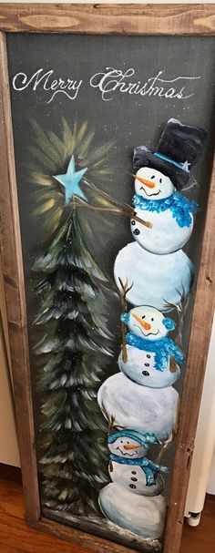 Window Decorations for Christmas : Climbing Snowmen snowman winter holidays Christmas Christmas Tree window screen screen art hand painted handmade unique gift idea Christmas Wood Crafts, Christmas Tree Painting, Snowman Crafts, Christmas Signs, Christmas Art, Christmas Projects, Holiday Crafts, Christmas Ornaments, Painted Windows For Christmas