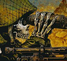 Day of the Dead Artist David Lozeau, In the Crosshairs, Dia de los Muertos, Sugar Skull
