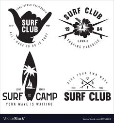 Set of vintage surfing graphics and emblems for vector image on VectorStock Surf Design, Badge Design, Logo Design, Design Art, Web Design, Memorial Tattoo Quotes, Summer Logo, Summer Fun, Nautical Logo