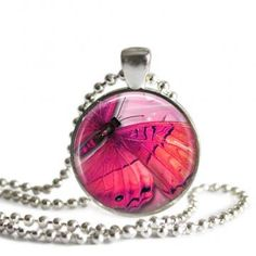 Pink Butterfly Glass Pendant by hcltreasures196 for $12.00