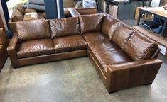 "This beautiful Braxton Leather Mini L Sectional was delivered closer to home, in Long Beach, CA. This customer opted for Cushion Option 1 in the 43"" depth (dimension diagram below) and selected our Italian Brompton Classic Vintage Leather, which will lighten slightly with use as it distresses. Build your own Braxton Mini L Sectional:  https://www.leathergroups.com/shop/Braxton-Mini-Leather-L-Sectional-Sofa.html"