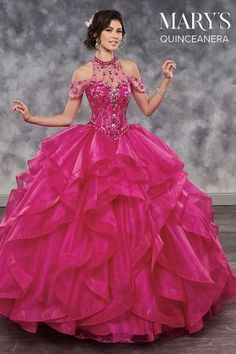 Marys Bridal Lareina Quinceanera Dresses dress with Style - Fabric - Organza/Tulle and Color - Cerise, Champagne, Royal, or White Dressy Dresses, Prom Dresses, Wedding Dresses, Sweet 15, Robes Quinceanera, Quinceanera Ideas, Quinceanera Collection, Mary's Bridal, Quince Dresses