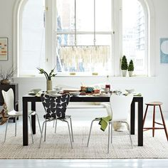 Vision for our dining room. Chair and chandelier: check! Table, jute rug (risky?) and wall color: coming up!