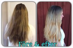 Before and after. Ombré with some highlights