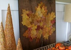 Dried leaf art using pretty fall leaves. So perfect for fall!