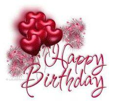 *Happy Birthday with heart balloons
