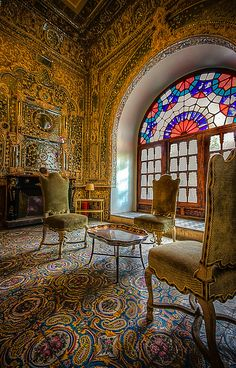 ♥♥♥Golestan Palace, Tehran , Iran. Part of iran visual tour series.The entire wall is decorated with Gold and Mirror.-golestan Palace, Persia, Iran
