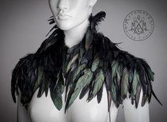 Black feather Shoulder piece Feather shrug High collar feather shoulder wrap Edgy fashion shoulder feather accessories Burning Man