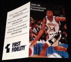 1995 CONNECTICUT HUSKIES FIRST FIDELITY BASKETBALL POCKET SCHEDULE RAY ALLEN CVR…