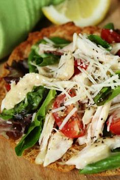 The Deen Bros Lighter Chicken Caesar Pita Pizzas  Keep it delicious and healthy with our Lighter Chicken Caesar Pita Pizzas! #gardenfresh #chicken #pizzaparty