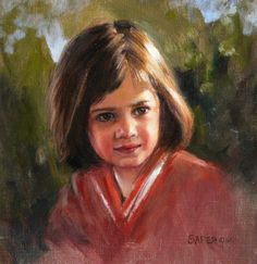 Rachel in Oil, 12 x 12 Commissioned oil portrait, child portrait, girl portrait, family portrait