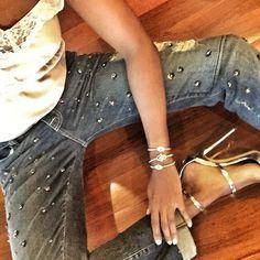 Charms #handmade #bracelets by #swizzbeads on my wrist #armcandy #charms #beluga #ootd #inspo #instabracelet #instaglam #shoeaddict #giuseppezanotti #silk #gold #platinum #crystals #womensfashion #fashionjewelry #fashion