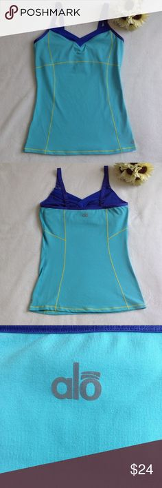 💜 ALO Coolfit workout tank 💜 EUC, bright teal with purple trim and yellow stitching, built in support, adjustable straps ALO Yoga Tops Tank Tops