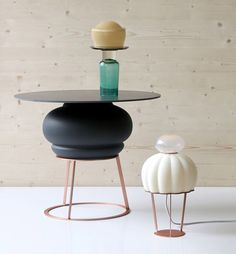 Side table and table lamp by Hanna Krüger