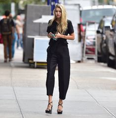 Even the Black T-Shirt You Sleep in Isn't Boring With Platform Pumps