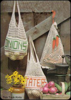 No.231 Crochet Pattern Vintage PDF - Mesh Produce Bags - Potatoes, Onions & Carrots - Retro Crochet Pattern - Food Theme - Instant Download on Etsy, $3.50