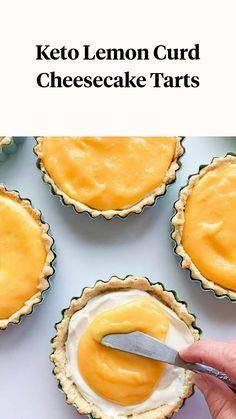 Lemon Curd Cheesecake, Cheesecake Tarts, Gluten Free Cheesecake, Low Carb Cheesecake, Gluten Free Desserts, Gluten Free Recipes, Low Carb Recipes, Snack Recipes, Dessert Recipes