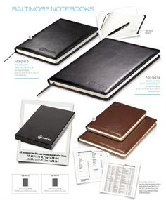 Baltimore Maxi Notebook simulated leather 27.3(l) x 19.5(w) x 1.3(h) excludes pen 104 lined pages presentation box: 28.6(l) x 21.3(w) x 2.8(h)