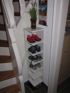 LILLÅNGEN End unit converted into children's shoe shelf - Ikea Hacker Kids Shoe Storage, Garage Shoe Shelves, Shoe Rack With Shelf, Ikea Hack, Foyer Decorating, Storage Hacks, Shoe Storage Vertical, Kids Shoe Rack, Ikea Shoe Rack