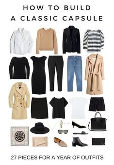 how-to-build-a-capsule-wardrobe-audrey-a-la-mode.jpg hair casual How To Build A Classic Capsule Capsule Outfits, Fashion Capsule, Mode Outfits, Easy Outfits, Packing Outfits, Fall Fashion Staples, Traveling Outfits, Europe Travel Outfits, Preppy Fall Outfits