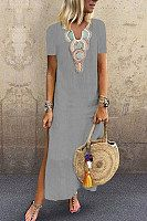 casual v-neck printed short-sleeved dress Fashion Fail, Fashion Wear, Boho Fashion, Fashion Dresses, Womens Fashion, Trendy Dresses, Cute Dresses, Casual Dresses, Chic Dress