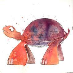 The Phoenix Tortoise http://ift.tt/1eHfuUF Art watercolor acrylic doodle art painting artistsoftumblr watercolor