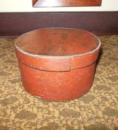 1860s Thick Walled Pantry Box in Original Red Paint AAFA