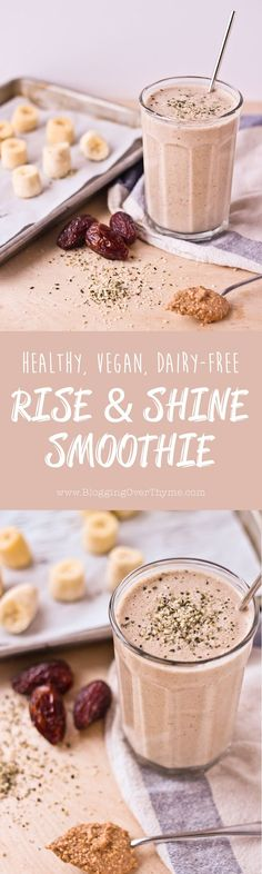 Rise and Shine Smoothie. A healthy, vegan, dairy-free breakfast smoothie packed with nutritious ingredients!