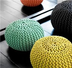 There are a lot of poufs out and about these days. Of course there is Snookie's pouf, not really my style. And the Moroccan leather pouf. Free Knitting, Knitting Patterns, Crochet Patterns, Knitting Club, Start Knitting, Crochet Home, Knit Crochet, Knitting Projects, Crochet Projects