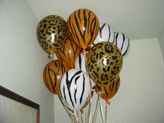 Sam's hand painted 1st bday balloons- Jungle party