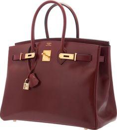 Hermes 35cm Rouge H Calf Box Leather Birkin Bag with Gold Hardware. Hermes  Box, b3eb82584b