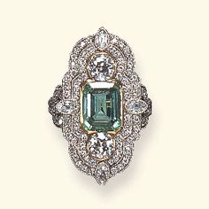 Belle Epoque Emerald and Diamond Ring. This is my birthstone if anyone is feeling generous around the month of May Art Deco Jewelry, Art Deco Ring, I Love Jewelry, Jewelry Rings, Jewelery, Jewelry Accessories, Fine Jewelry, Jewelry Design, Metal Jewelry