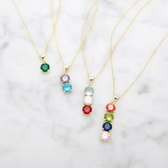 A nice little upgrade to your birthstone necklace. Choose from 1-4 stones in gold or silver and comes on a 16 inch rolo chain.  #jewelry #birthstone_jewelry #necklace Birthstone Pendant, Birthstone Necklace, Gifts For New Moms, Gifts For Her, Stone Gold, Chain Jewelry, Metal Necklaces, Bar Necklace, Silver Charms