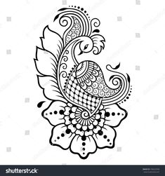 Tattoo Designs Drawings Templates Embroidery Patterns 25 New Ideas Henna Hand Designs, Beginner Henna Designs, Mehndi Designs Book, Henna Tattoo Designs, Tattoo Ideas, Henna Drawings, Tattoo Design Drawings, Bird Drawings, Drawing Birds
