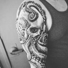 #Octopus #Skull #Tattoo by Artist @jeremiahbarba - WELCOME TO A WORLD OF SKULLSWELCOME TO A WORLD OF SKULLS