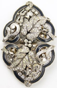 Trifari 'Alfred Philippe' Empress Eugenie Pave and Enamel Leaf Swirls Clipmate Pin or Pair of Dress Clips