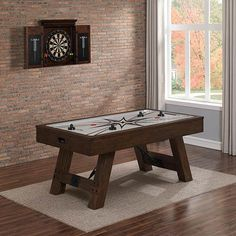 American Heritage Billiards Savanna Air Hockey Table 390026 for sale online Game Room Furniture, Furniture Sale, Leather Furniture, Wooden Furniture, Furniture Design, Air Hockey, Game Room Decor, Brown Wood, A Table