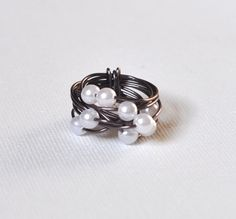 Cascading Pearls Wire Wrapped Ring