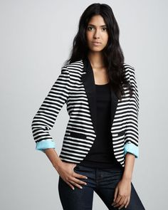 Stripe envy! Boundary | Elyse Striped Contrast-Cuff Blazer - CUSP http://www.cusp.com/product.jsp?masterId=cat110000=Boundary=false=Designer+Debut=cat940004=6=Elyse+Striped+Contrast-Cuff+Blazer=cat000000cat110000cat940004=prod3330038#