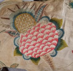 Antique English Crewel Work Embroidery Fragment Large Pomegranate