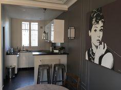 Cuisine ouverte sur le salon - du blanc pour la lumière, du noir pour en souligner le trait et du gris pour la moderniser.