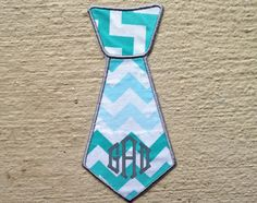 Iron On Aqua Chevron Monogrammed Baby Boy Neck Tie - Iron On Applique - Baby Tie- Trendy Baby Boy - DIY Iron-On Tie Patch - High Quality - great for photo shoots!